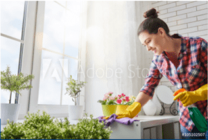 Lady cleaning table counter top