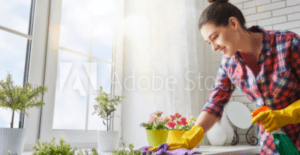 Cleaning table counter, surrounded by flowers
