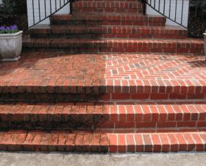 pressure washed brick steps